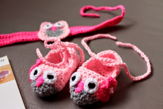 crochet owl baby shoes and headband