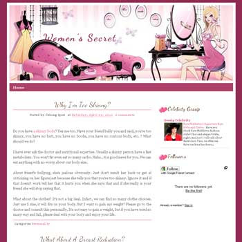 Women's Secret blogger template for personal blog template with cute background. girly blog template girly