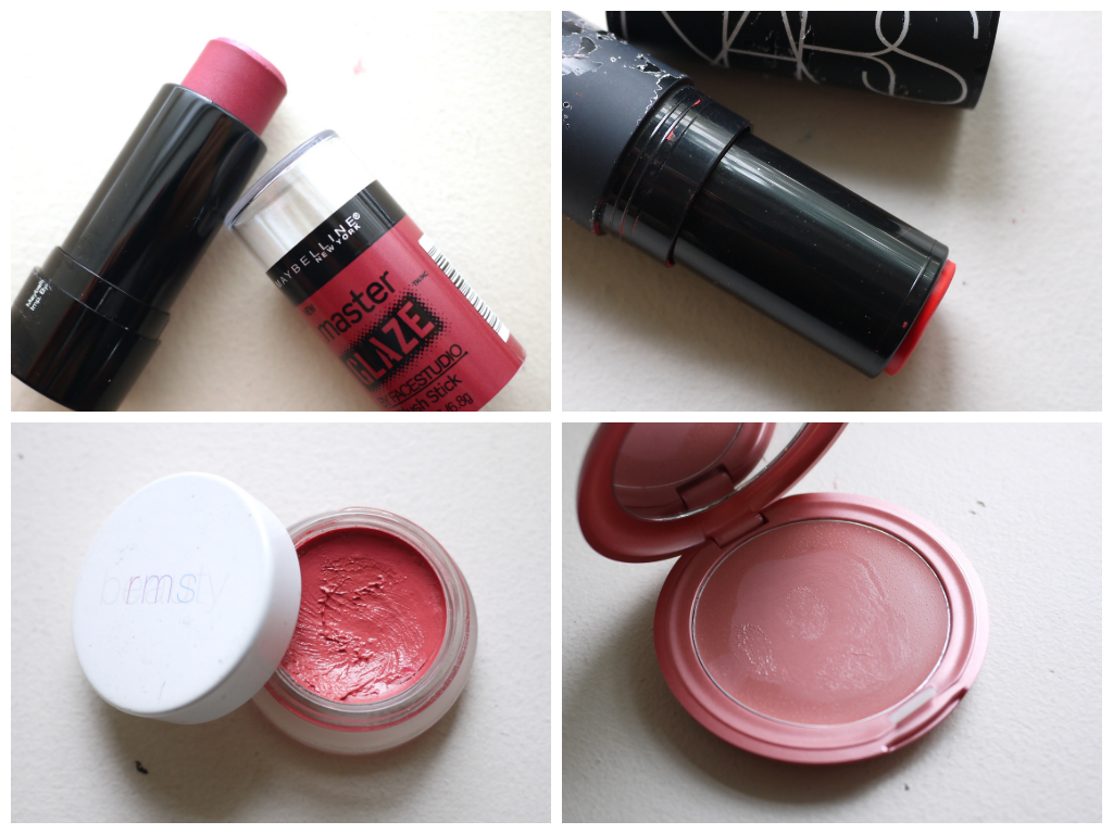 ip and cheek duo products review swatch, becca beach tint, stila convertible color, RMS lips2cheek. Nars multiple, Lush Emotional Brilliance, Canmake cream cheek, cargo blush stick, Maybelline master glaze