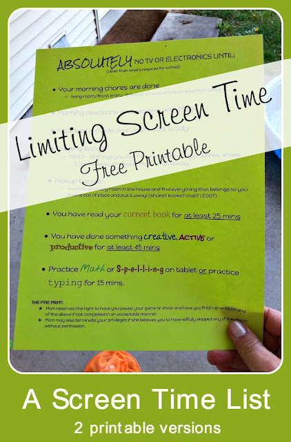 How I limit screen time - a free printable list in 2 versions
