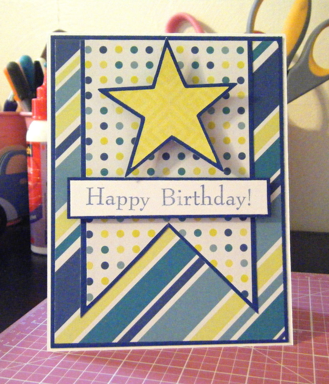 Pink and Paper Star Birthday Card