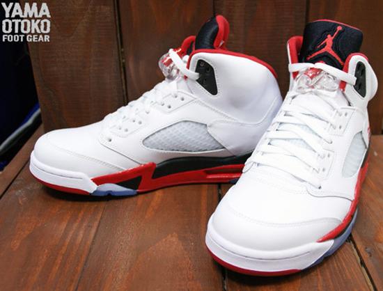 Jordan 5 Fire Red Black Tongue On Feet