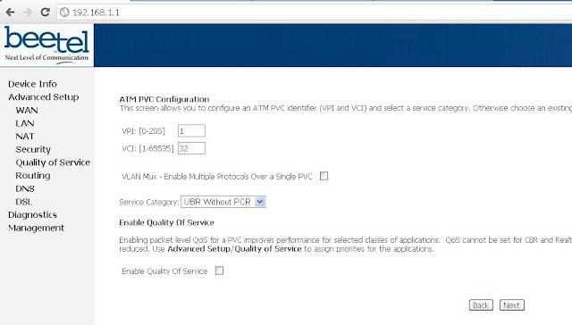 Airtel Broadband ATM PVC Configuration