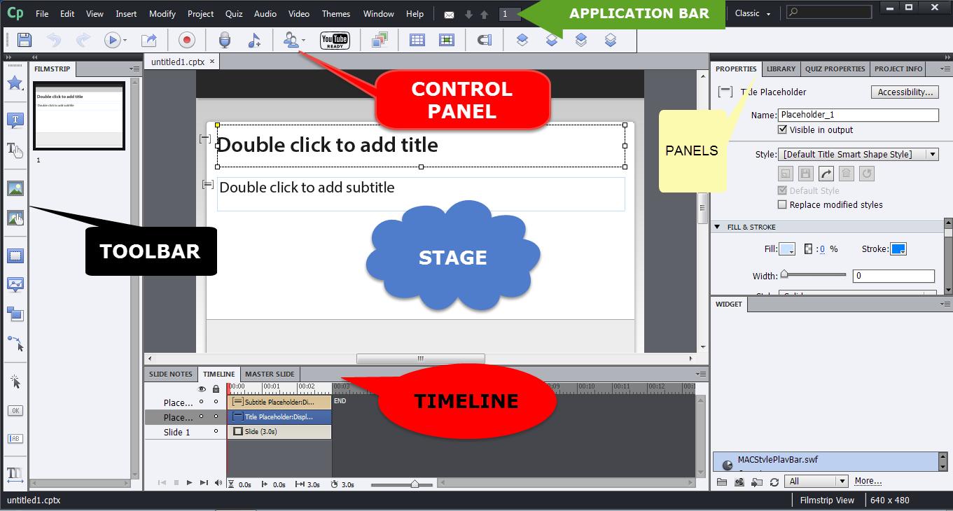 "Left column ""toolbar"". Center upper Applications bar, center middle ""control panel"", center middle underneath control panel ""stage"", center lower part ""timeline"". Right column ""panels"""