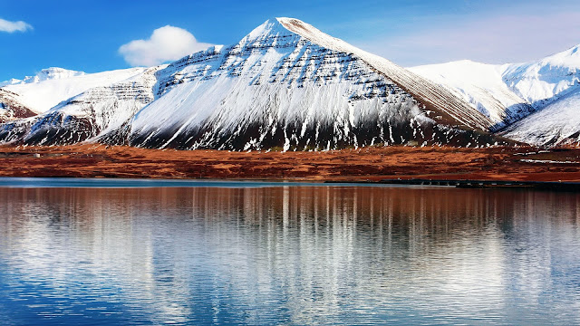 Iceland Hafnarfjall snowy mountains water reflection HD Wallpaper