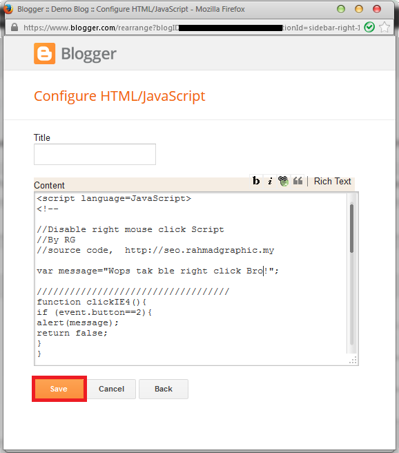 Cara Disable Right Click Pada Blogspot