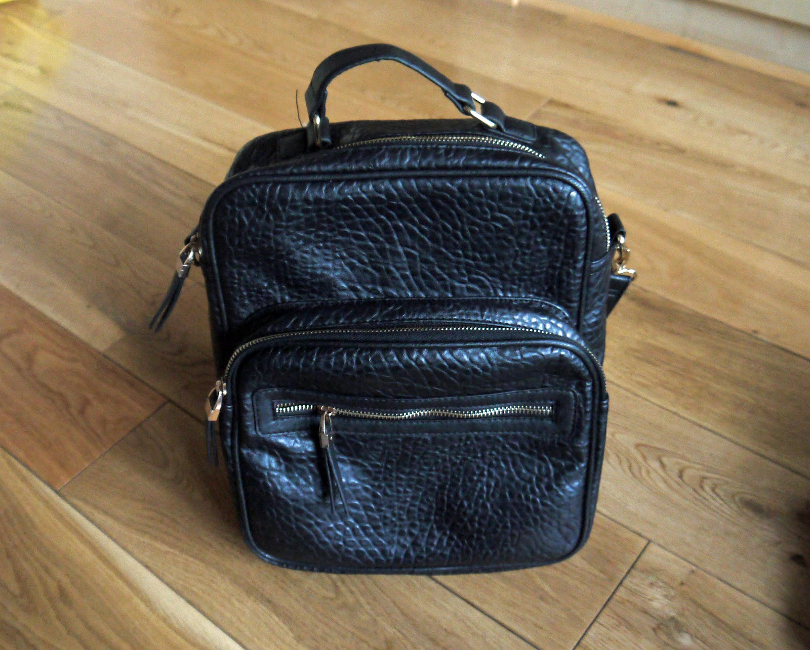 New Look Black Textured Leather-Look Backpack