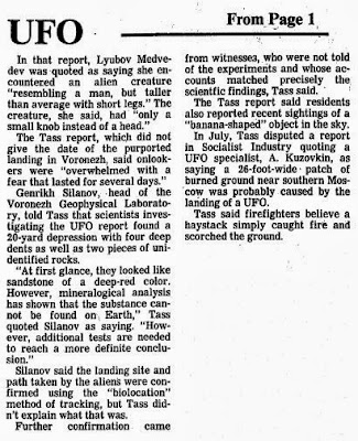 Soviets Report Spaceships Landing, Alien Creatures (-cont) - Madison Capital Times 10-9-1989