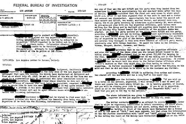 relatório do FBI no vôo de Hitler para a América do Sul, das ilhas Canárias