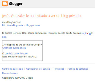 Acceso a un blog privado con una cuenta no GMail