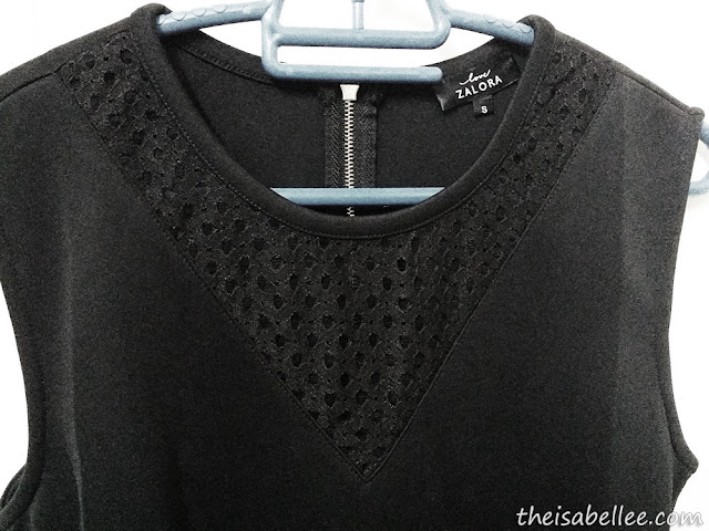black v neck mesh on black dress