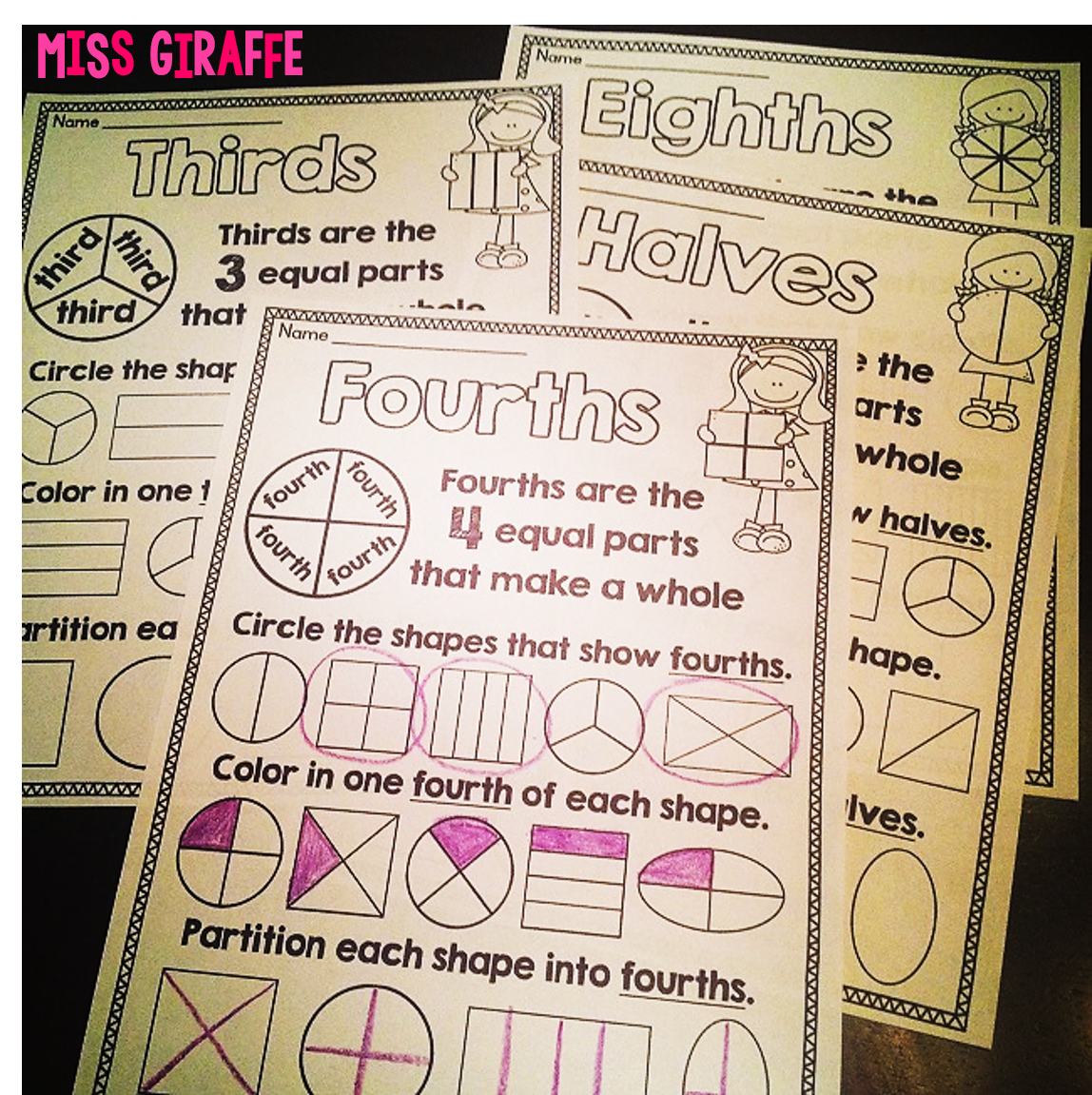 math worksheet : miss giraffe s class fractions in first grade : Types Of Fractions Worksheet