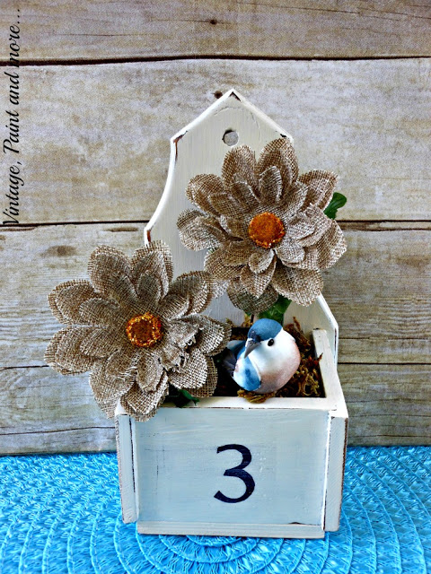 vintage box recycled into flower box with chalk paint