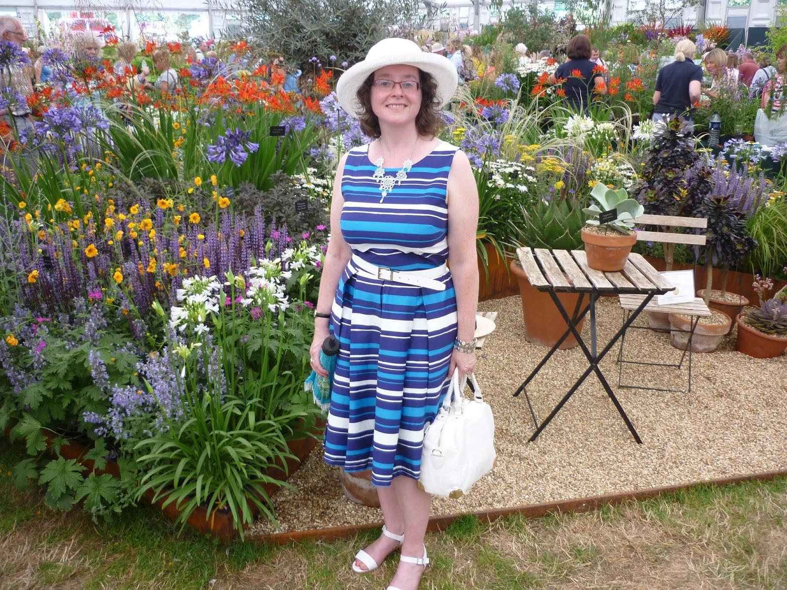 Blue and white striped dress; PetiteSilverVixen