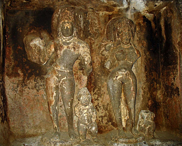 fresco of sculptures inside Aurangabad caves