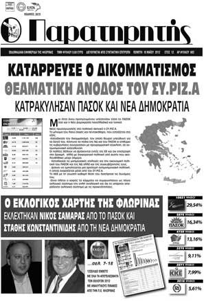 ΤΕΛΕΥΤΑΙΟ ΠΡΩΤΟΣΕΛΙΔΟ ΠΑΡΑΤΗΡΗΤΗ
