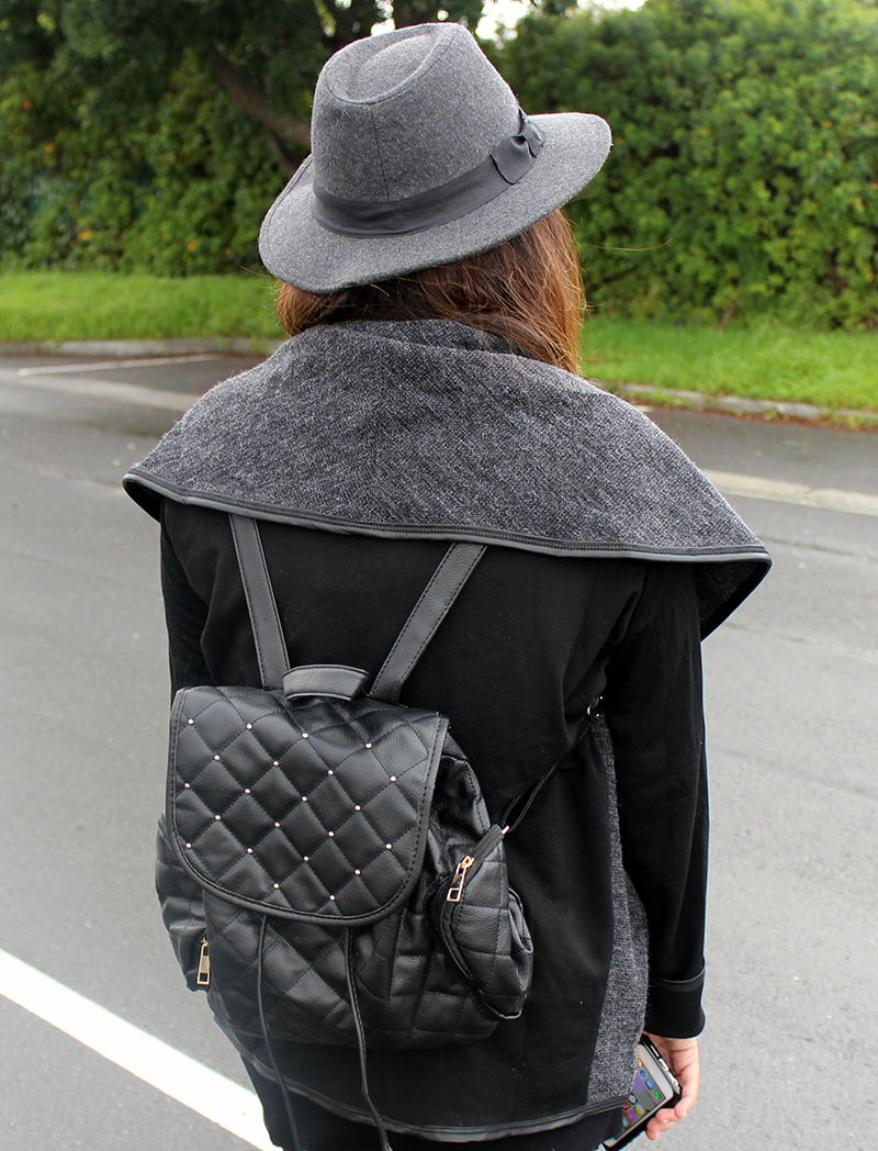 Grey Open Knitted Cardigan, Grey Hat, Ombre Hair, Fashion Blogger Cape Town, Asymetrical Heels, Black Backpack, Chanel iPhone Cover, Wet n Wild Sugar Plum Fairy