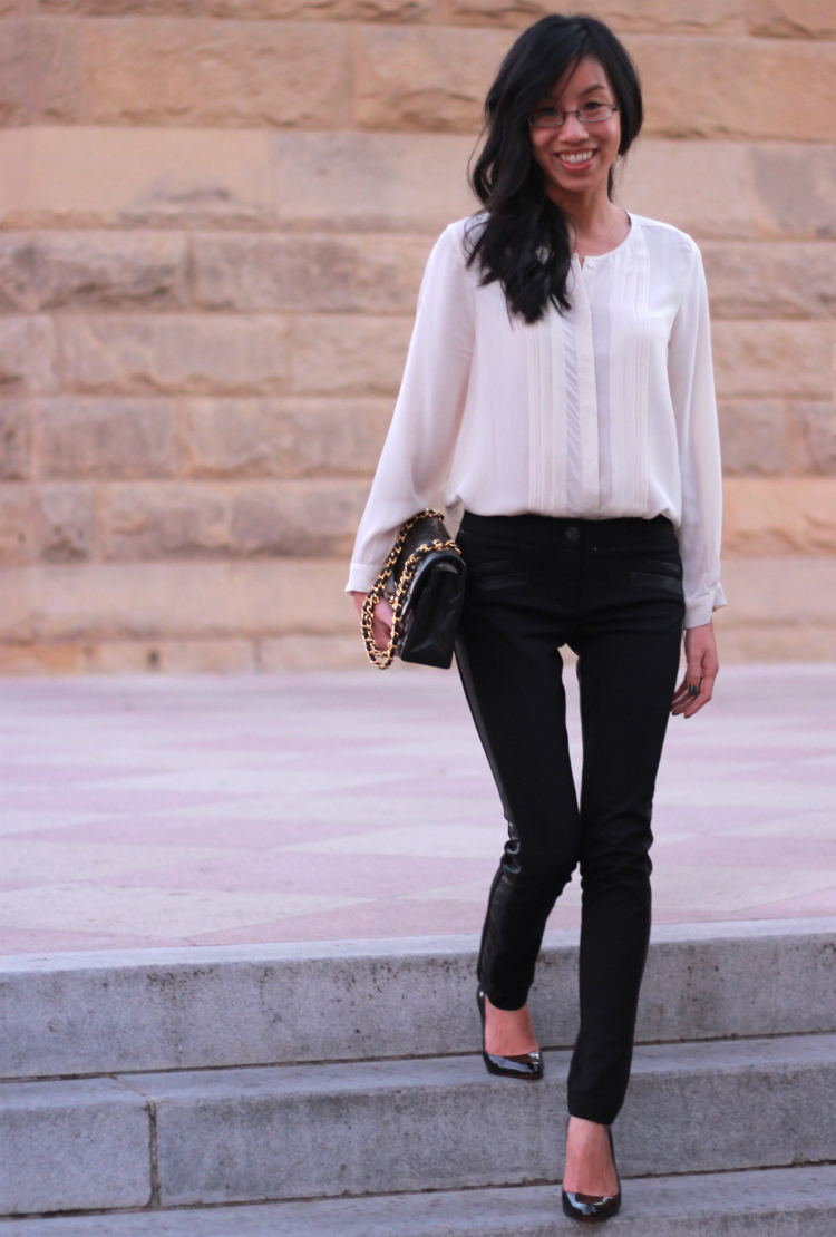 classic black and white outfit combo idea