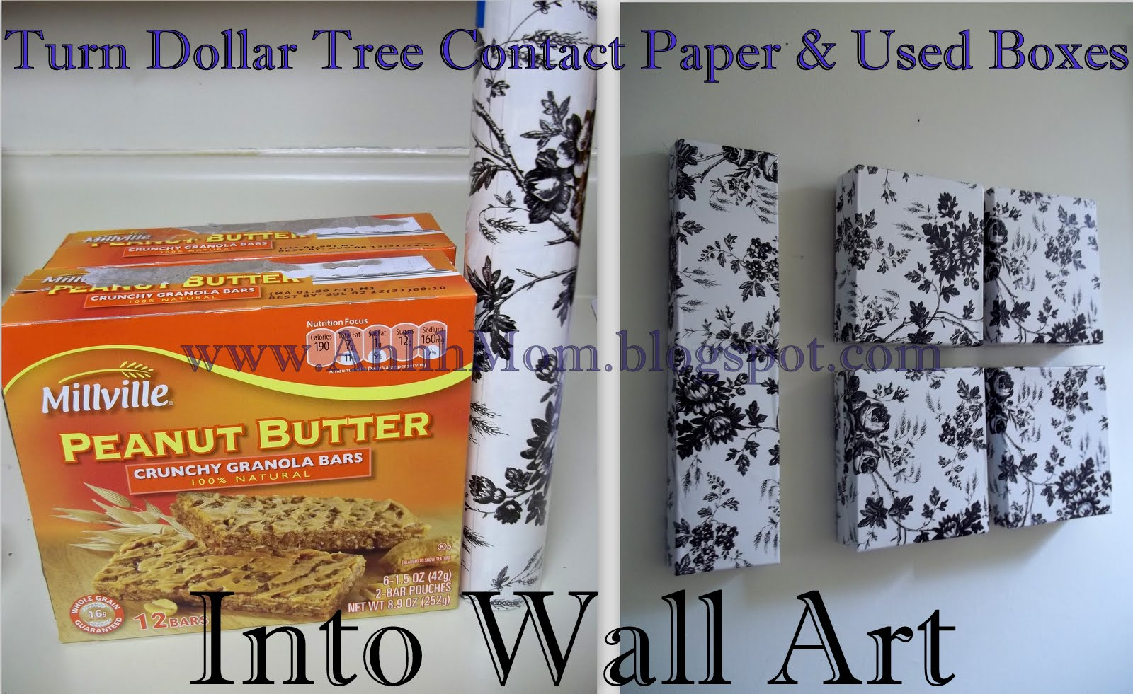 Contact Paper On Walls ahhh mom!: dollar tree contact paper and used boxes wall art