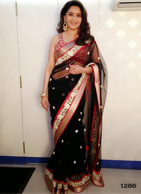 Bollywood Actress Madhuri Dixit Black Saree Collection