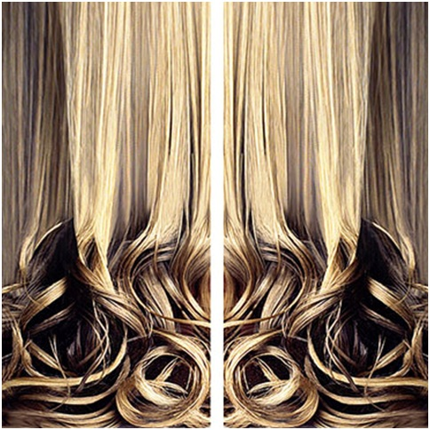 Original Curtain Design with blond hair picture