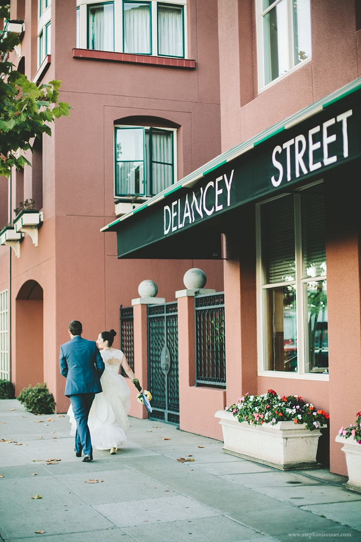 """bride and groom at delancey street reception"""