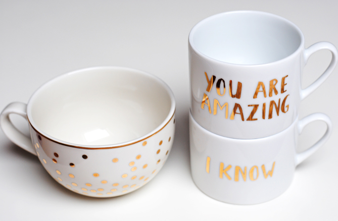 H&M Home cute golden cups mugs