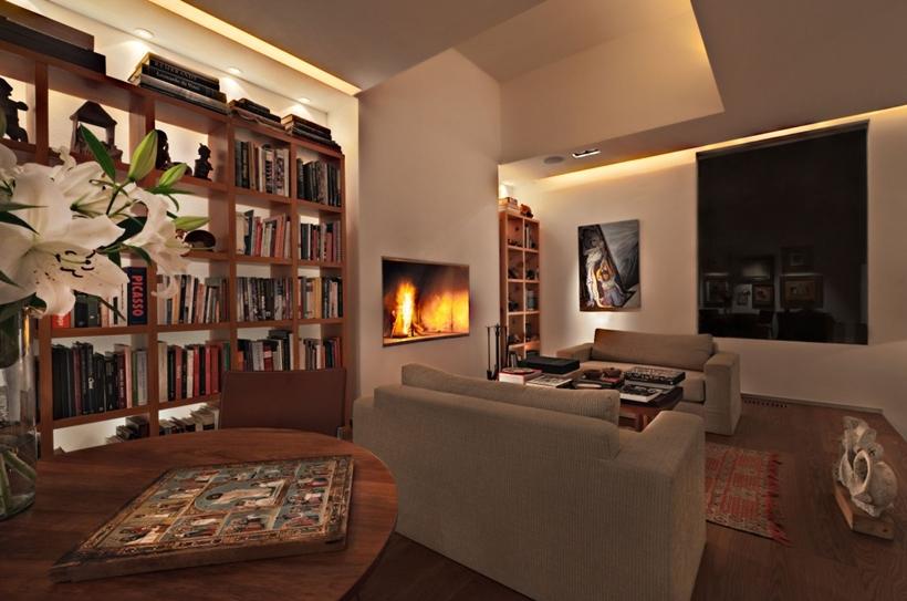 Modern interior design at night