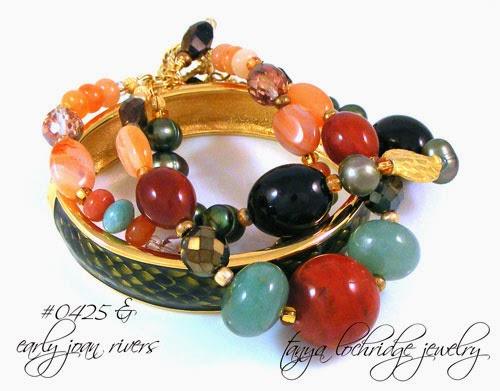 Red Poppy, Jasper, Carnelian, Smoky Quartz, Aventurine Gemstone Bracelet