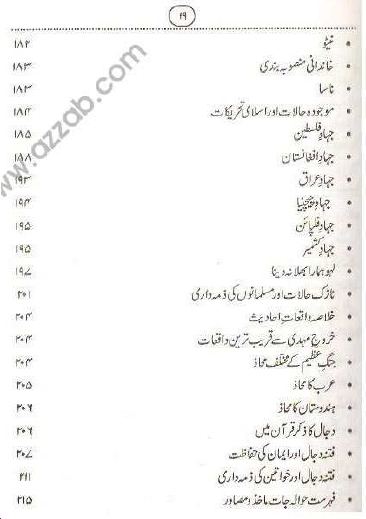 Index page 6 of Teesri Jange Azeem aur Dajjal
