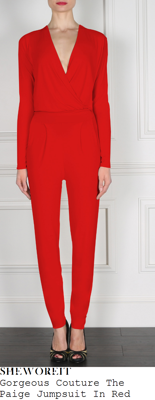 billie-faiers-red-v-neck-cross-over-front-tailored-long-sleeve-jumpsuit-clothes-show