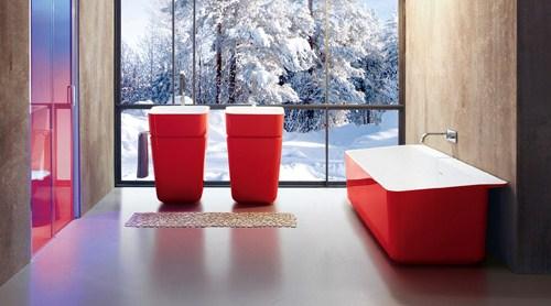 Baño Minimalista Rojo:Decoración Color Rojo en el Baño