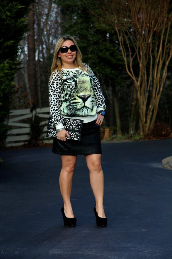Forever 21 Quilted Panel Faux Leather Skirt, Forever 21 Neon Leopard Print Pullover, TJ Maxx Studded Clutch, Fabulous Selena Platfrom Wedge Shoes: thanks to Lockerz, Burberry Oversized Round Check Sunglasses