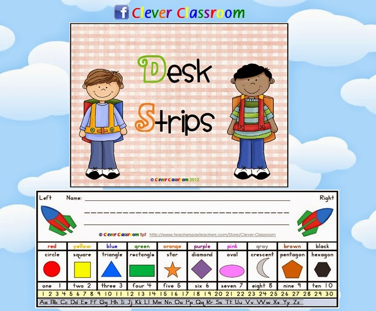 3 x Desk Strips for Kindergarten Students, great classroom resource for back to school