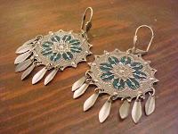 Aqua Stained Glass Dream Catcher Earrings by hotGlued