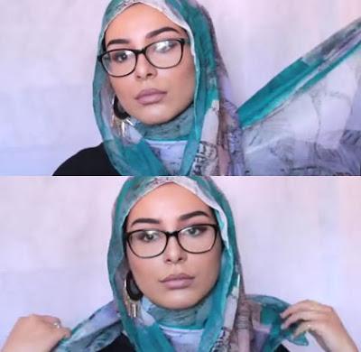Tutorial Hijab Kombinasi Kacamata dan Anting Langkah Ketiga