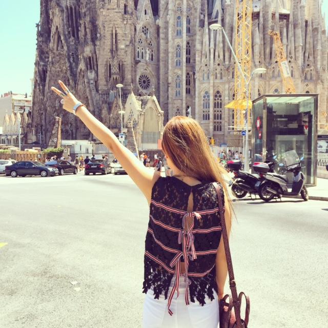 spain, barcelona, travel, sagrada Familia, guadi, architecture, design, english factory ribbon top, ribbon top, lace, travel, jetset, fashion blog, hermes bracelet