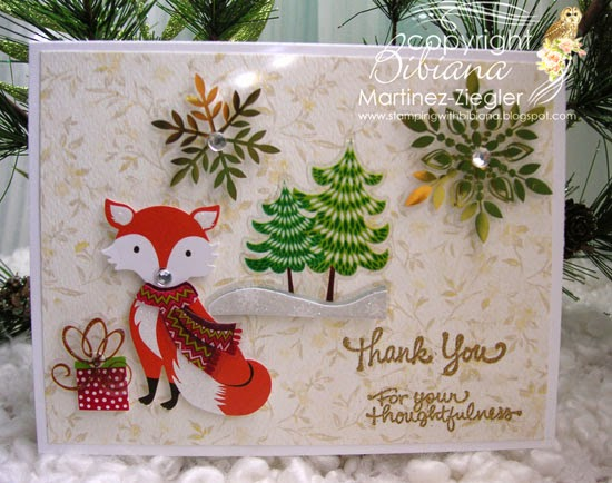 thank you note with fox sticker front