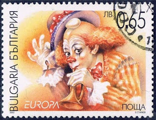 Payaso. Sello de 65s, Bulgaria - 2002