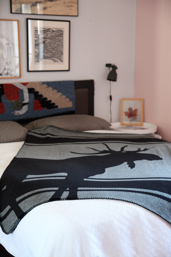Simple Moose blanket from Walmart ca I love it The moose silhouette is very Charles Patcher no