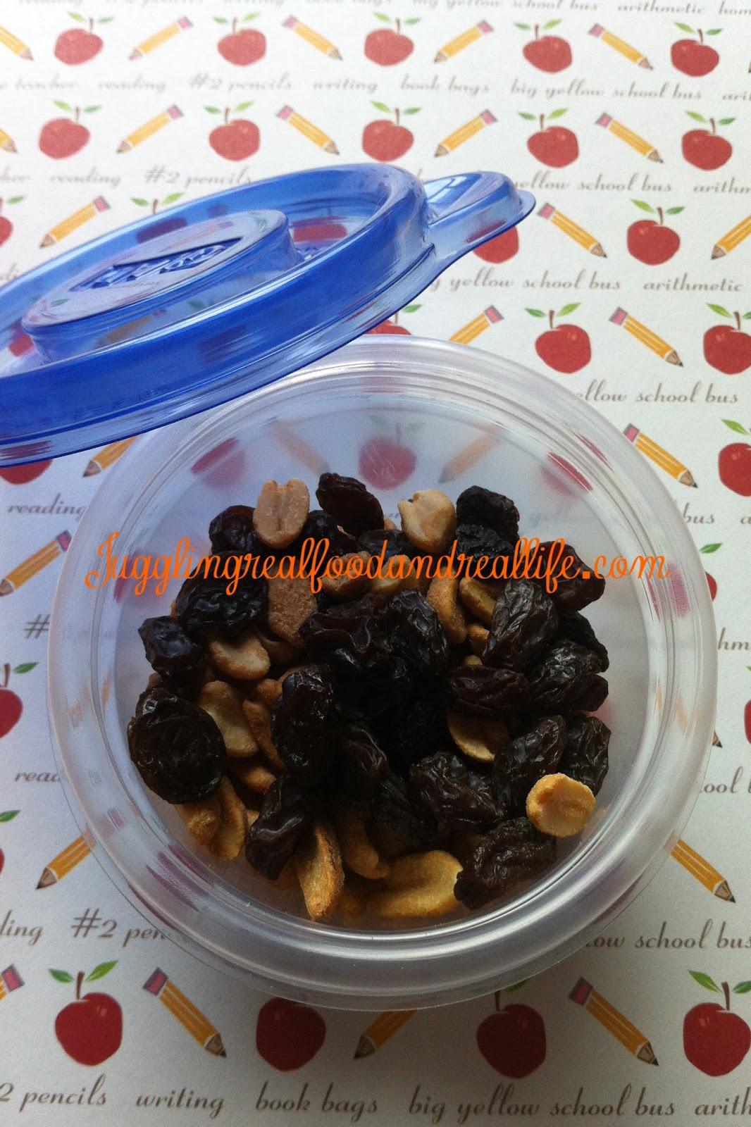 Peanut and raisin trail mix