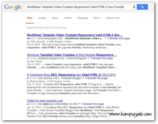 Tampilan lama halaman hasil pencarian Google