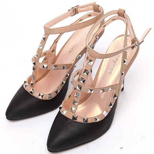 Studded T-Strap Slingback Heels