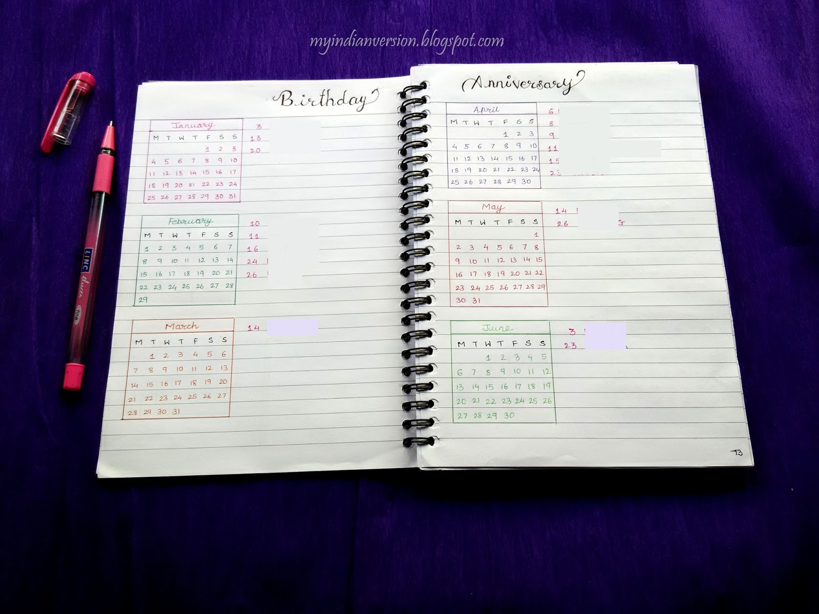 Yearly Calendar Bullet Journal : My indian version bullet journal yearly calendar and