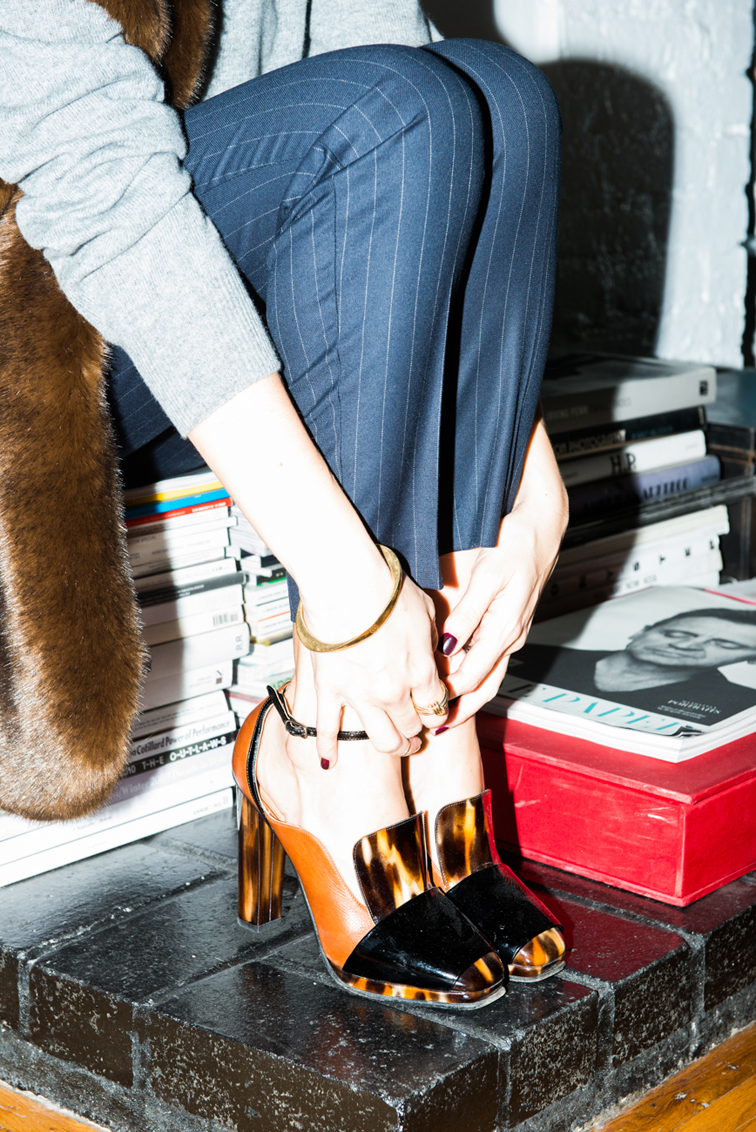 Giorgia Tordini pinstripe pants, Fendi shoes for the coveteur