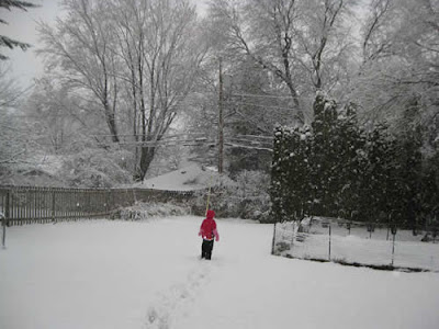 Joy, age 8, in the snow