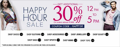 Happy Hour Sale : Enjoy Flat 30% Extra Off on Purchase worth Rs.1499 at Jabong (Hurry!! Valid till 5.00 PM Today)