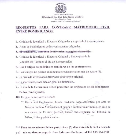 En una tapita de ron requisitos para contraer matrimonio civil entre dominicanos - Requisitos para casarse ...