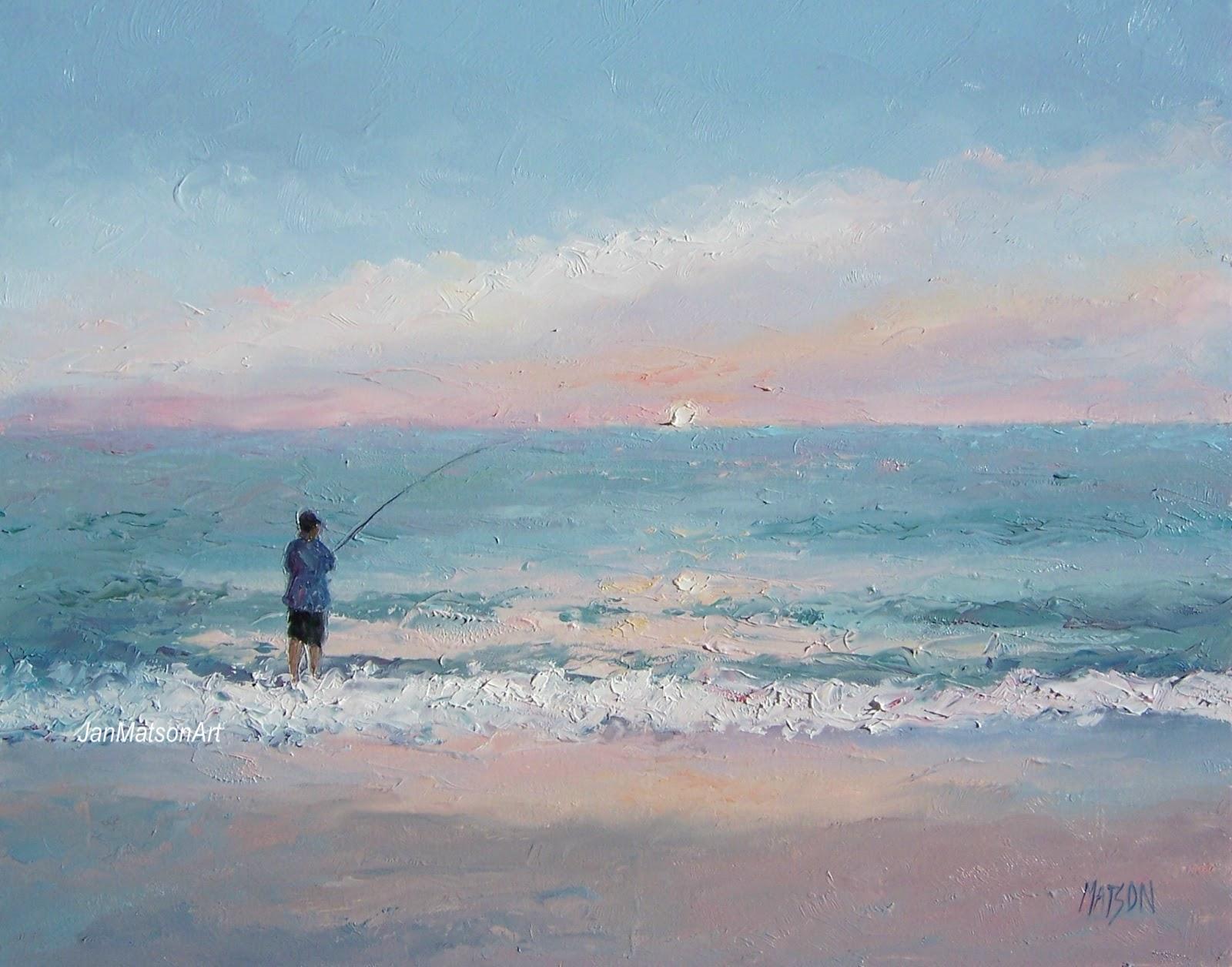 Jan Matson Etsy Art Beach Fishing Painting