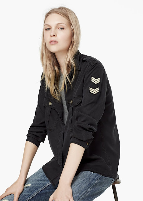 black military shirt, soft black shirt, mango black shirt,